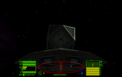 Screenshot from Oolite of a Cobra Mark III docking