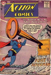 Superman with a giant key